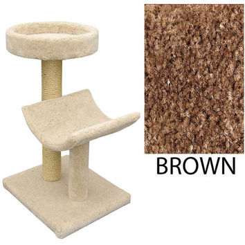 "Two  Level Cat House -Cradle & Perch - Brown (Brown) (37""H x 26""W x 20""D)"