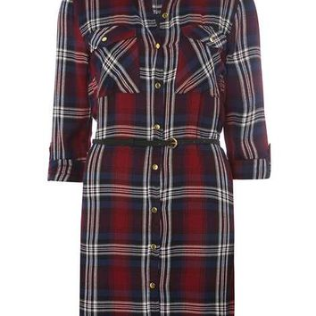 Red Check Belted Shirt Dress - Dresses - Clothing