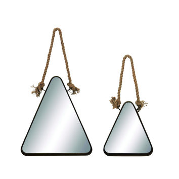 Elegant Triangle Shaped Metal Mirror With Rope Handle