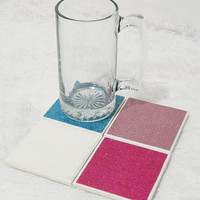 Glitter Tile Coasters in Light and Dark Pink and Blue with Foamed Backs (4) No Shed