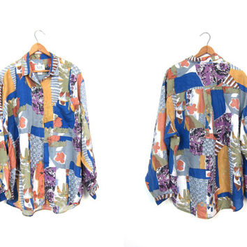 Floral Abstract Silk Blouse Colorful Long Sleeve 90s Shirt Button Up Top Slouchy Silk Shirt Boho Hipster Retro Shirt Vintage Womens Large