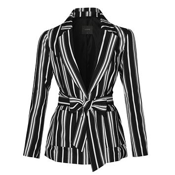 Casual Striped Open Front Long Sleeve Blazer Jacket With Self Waist Tie