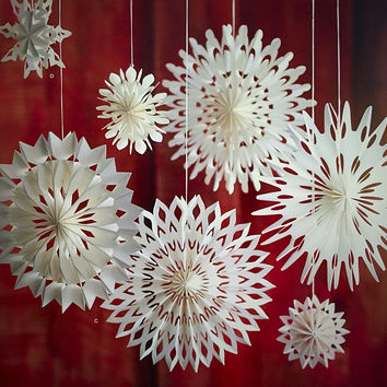 Pleated Paper Snowflakes