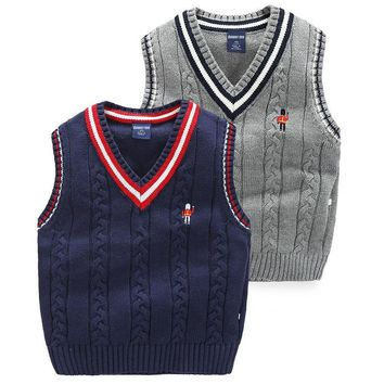New Arrival 2016 Children Boys Vest Sleeveless Sweater Spring Autumn Kids Knit Vest For Boy Blue Grey Top Boys Clothing