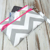 Wallet, Hot Pink Wallet, Gray and Pink, Wristlet Clutch, Cell Phone Wristlet, Phone Wallet, Clutch Purse, Zipper Clutch, Clutch for Phone