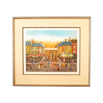 Pre-owned Lithograph - Eugene Valentin Paris Street Scene