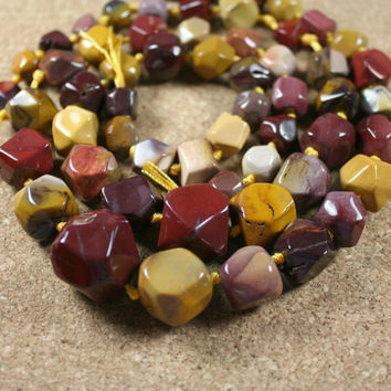 Mookaite Nugget Beads - Faceted Graduated Maroon Yellow and Ivory, 16 inch strand