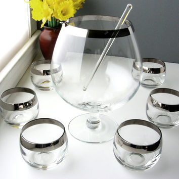 Mid Century Roly Poly Glasses and Decanter / Mad Men Dorothy Thorpe Style with Silver Rim / Set of Six with Glass Stir Stick