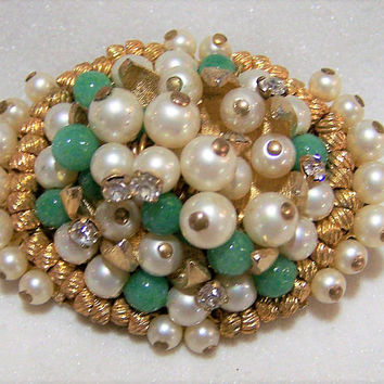 Green Peking Glass Bead Pin, Faux Pearls, Crystal Rhinestone Brooch, Gold tone Setting,  Mid Century Jewelry, Costume Jewellery  217