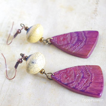 Yellow Burgundy Earrings , Flower floral Earring dangle , raku ceramic Polymer clay jewelry