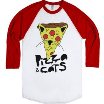 Pizza and Cats-Unisex White/Red T-Shirt