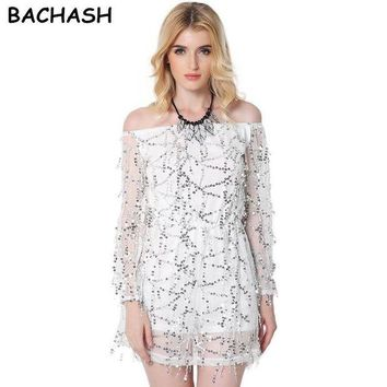 DCCKU62 BACHASH 2017 Autumn Gold Sequin Embroidery Elegant Jumpsuit Romper Transparent Mesh Sleeve Playsuit Women Sexy Spring Summer B40