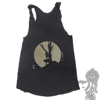 Shinigami like apple print on Tri-blend Tank American Apparel TR308