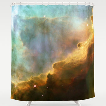 Shower Curtain - Bright nebula galaxy stars sagittarius constellation hipster geek space nebulae landscape photo house bathroom home decor
