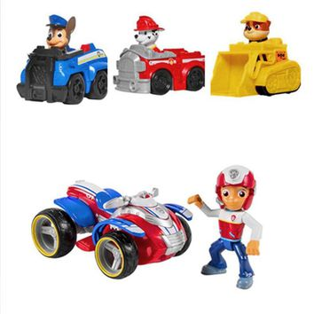 Paw patrol Dog Captain Ryder Anime Toys Figurine Car Toy Action Figure model patrulla canina toys Children Gifts 4Pcs