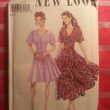 Uncut New Look Simplicity Sewing Pattern, 6018! 6-8-10-12-14-16 Small/Medium/Large/Women's/Misses/Fitted Waist Flared Dress/Short Sleeves