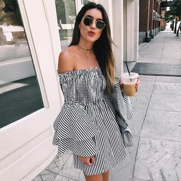 Womens Vertical Striped Dress Sexy Big Flare Sleeve  Off The Shoulder Dress Ladies Fashion Summer Dress Dropping #L
