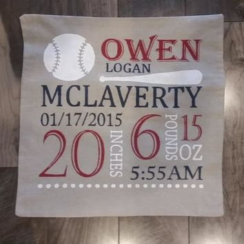 Baseball Themed Personalized birth pillow cover