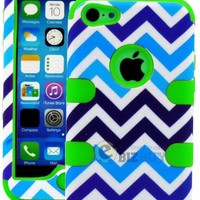 """myLife Lime Green + Blue and White Chevron 3 Layer (Hybrid Flex Gel) Grip Case for New Apple iPhone 5C Touch Phone (External 2 Piece Full Body Defender Armor Rubberized Shell + Internal Gel Fit Silicone Flex Protector) """"Attention: This case comes grip easy"""