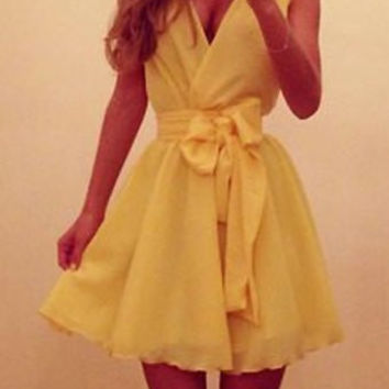Yellow V-Neck Chiffon Dress