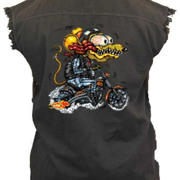Men's Sleeveless Denim Shirt Crazy Biker Rat Biker Vest