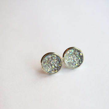NEW - Light Gray/Green Rainbow Chunky Faux Druzy Glitter Earrings - Posts/Studs 12mm LARGE