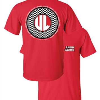 Southern Couture ULL Ragin Cajuns Chevron Logo Monogram University of Louisana Lafayette Girlie Bright T Shirt