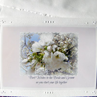 WEDDING Wishes to Bride and Groom, Photo Greeting Card, Handmade With Text on front, White Floral on Soft Pink, Decorative Card Stock
