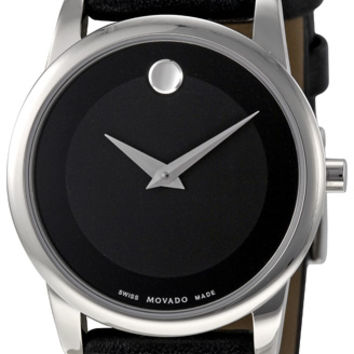 Movado Museum Black Dial Black Leather Strap Ladies Watch 0606503