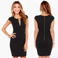Black V-Neck Cap Sleeve with Back Zipper Bodycon Mini Dress