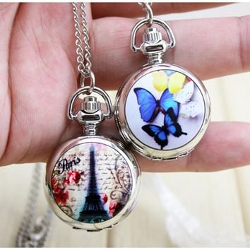 Butterfly pocket watch charming cute beautiful key chain fashion jewelry  floating Glass Lockets Necklace Antique Pocket Watch