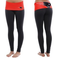 New England Patriots Ladies Sublime Knit Leggings - Navy Blue/Red