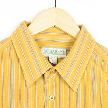 90s classic mustard oxford shirt / vintage 1990s / vertical stripes / pinstripes / hippie / retro / grunge / linen / natural / mens large