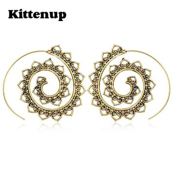 Kittenup Fashion Hollow Swirl Hoop Gypsy Indian Tribal Bohemian Earrings for women Boho Spiral Jewelry