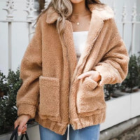 Explosive woolen thickening lamb fur coat female