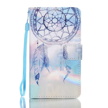 for Lenovo A 536 Leather Stand Cover Bag Pattern Printing Leather Wallet Cover for Lenovo A536 - Dream Catcher and Rainbow