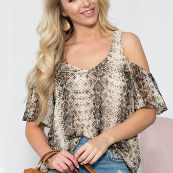Cold Shoulder Snake Flutter Top