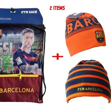 Messi Cinch + Beanie Sack Fc Barcelona Soccer Book Backpack Authentic Official