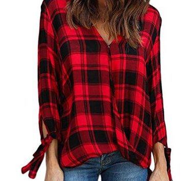 LOSRLY Women V Neck Wrap Front Drape Blouse Long Sleeve Plaid Shirts Tops