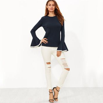 Long Sleeve Binding Flare Sleeve T-shirt