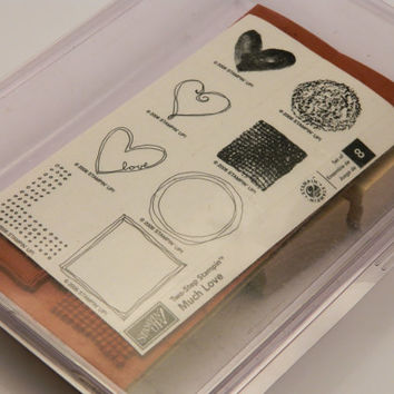 Rubber Stamp Set, Wood Mounted, Stampin' Up, Much Love, Retired