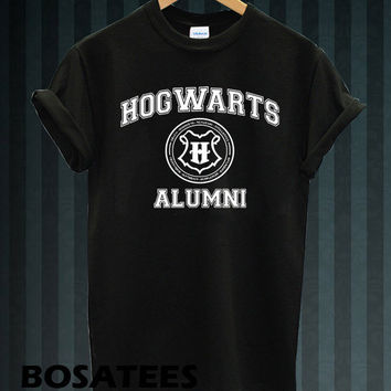 hogwarts alumni shirt harry potter shirts tshirt t-shirt printed black and white unisex size (BS-58)