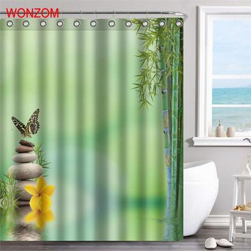 WONZOM Bamboo Polyester Fabric Stone Shower Curtain Scenery Bathroom Decor Waterproof Cortina De Bano With 12 Hooks Gift