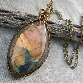 Golden Pink Labradorite Pendant, Wire Wrapped Flashy Orange Spectrolite Necklace, Antiqued Bronze, Gemstone Cabochon, Boho Jewelry, Lab1