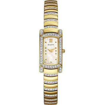 Bulova Ladies Crystal Dress Watch - Gold-Tone Case - Mother of Pearl