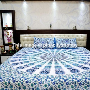 Hippie Tapestries, Mandala Tapestries, Tapestry Wall Hanging, Bohemian Tapestries with 2 pillow cover set, Hippie Wall decor Indian Tapestry