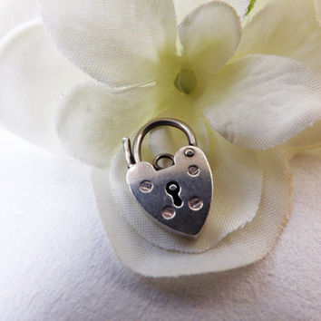 Sterling Silver Heart Padlock Pendant, Valentine Gift, Necklace Bracelet Charm, Bride Wedding Female Gift, British Hallmarked Silver Jewelry