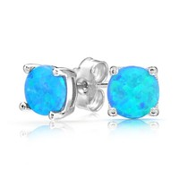 Bling Jewelry 925 Silver Round Synthetic Blue Opal Stud Earrings Basket Set 6mm