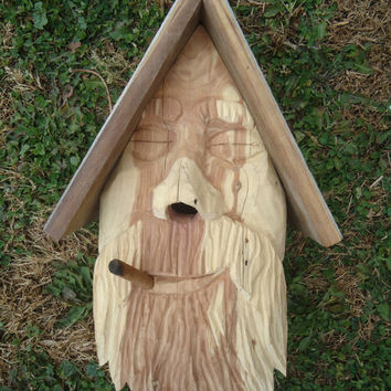 Rustic carved wood birdhouse -  Outside wood birdhouse - Redwood and cedar wood birdhouse - Weathered wood birdhouse - Rustic decor
