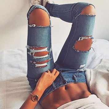 Womens Summer Ripped Holes Jeans [9864014669]